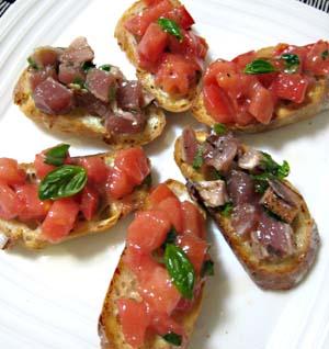 トマトとカツオのブルスケッタ